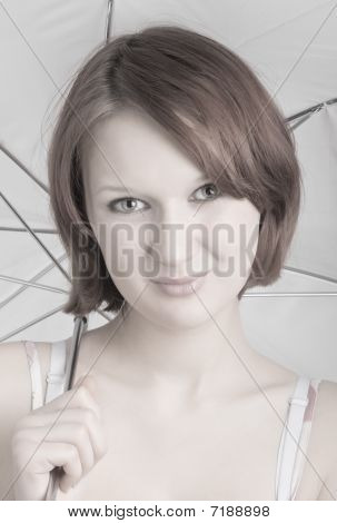 Portrait Of A Girl Under The Umbrella