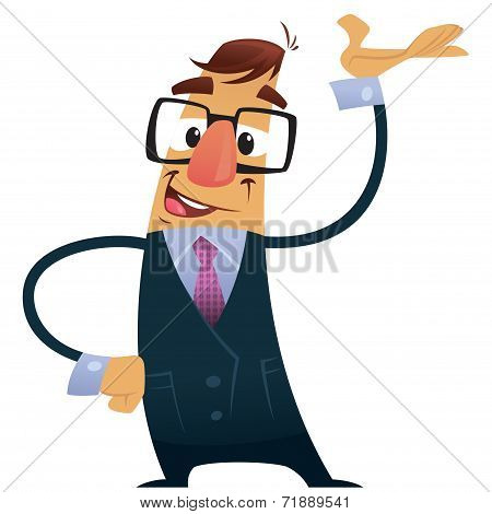 Vector Illustration Business Man With Suit And Geek Glasses Presenting