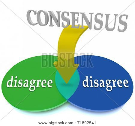 Consensus word on arrow pointing to overlapping area of common ground between two areas or circles with word Disagree