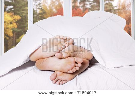 Close Up Of Couple Feet In A Bed