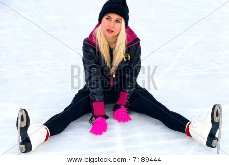 Girl Sitting On Ice