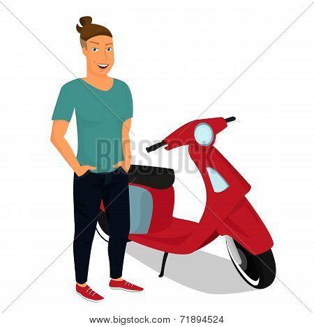 Hipster guy wearing stylish staying near red motorbike