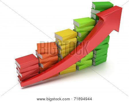 Colored books graph with red arrow