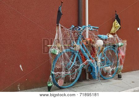 Bike Is In The Center Of Caorle, Italy