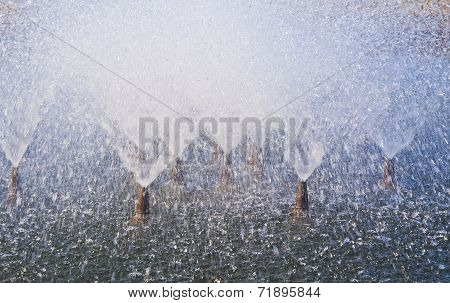 Close Up Of Fountain Water Jets