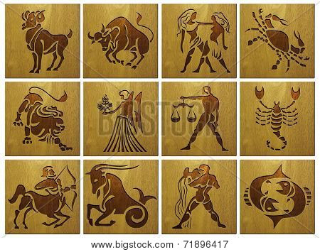 zodiac signs on wood