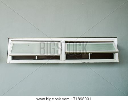 Opened Aluminium Window On Grey Wall