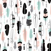 foto of scandinavian  - Seamless indian summer pastel aztec geometric feathers and arrow illustration background pattern in vector - JPG