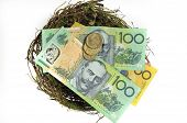 image of fifties  - Money in the nest savings investment concept with Australian hundred and fifty dollar notes and one and two dollar coins on white background - JPG