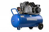 stock photo of air compressor  - New air compressor on a white background - JPG