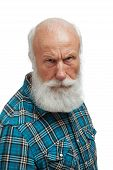 stock photo of long beard  - old man with a long beard on a white background - JPG