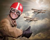 picture of biplane  - Happy pilot and biplanes - JPG