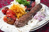 picture of kababs  - grilled koobideh with vegetables and flat bread  - JPG