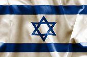 stock photo of israeli flag  - Israeli flag texture creased and crumpled up - JPG