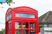 picture of phone-booth  - traditional red phone booth in Chiang Mai Thailand - JPG