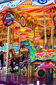 foto of carousel horse  - View of Carousel with horses on a carnival Merry Go Round - JPG