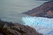 pic of descending  - Wrinkled glacier descending into the ocean in Torres del Paine National Park