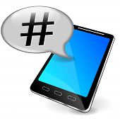 stock photo of hashtag  - illustration of mobile phone with hashtag in speech bubble - JPG