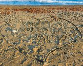 pic of san valentine  - Happy Valentine Day sign on the sandy beach - JPG
