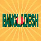 pic of bangladesh  - Bangladesh flag text with sunburst vector illustration - JPG