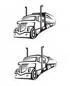 pic of tank truck  - monochrome set of a truck with trailer and tank truck - JPG