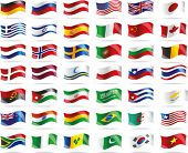 stock photo of north sudan  - Big set wavy flags - JPG