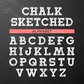 image of alphabet  - Chalk sketched font - JPG
