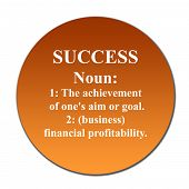 foto of nouns  - Dictionary definition of succes on orange button isolated on white background - JPG