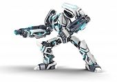 picture of robot  - White 3d robot with weapon on white background - JPG