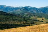 pic of railcar  - Summer landscape in the Ukrainian Carpathian Mountains with the freight train passing by. ** Note: Soft Focus at 100%, best at smaller sizes - JPG