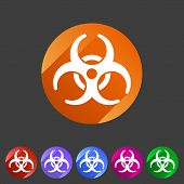 foto of biological hazard  - Biohazard flat icon badge and sign with shadow - JPG