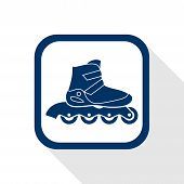 picture of inline skating  - square blue icon inline roller skate boot with long shadow  - JPG