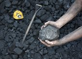foto of minerals  - Miner working  holding a stone coal mineral