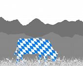stock photo of bavarian alps  - Detailed and accurate illustration of cow alp and bavarian flag - JPG