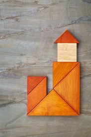 image of tangram  - abstract lighthouse - JPG