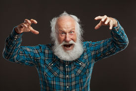 pic of long beard  - old man with a long beard wiith big smile on a white background - JPG