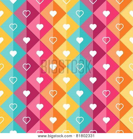 Pattern - Diamond Shaped Elements And Hearts