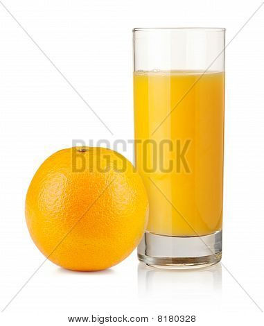 Orange Juice In Highball Glass And Orange