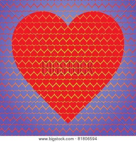 Big Red Heart Made Of Small Hearts On A Blue Background Of Small Hearts