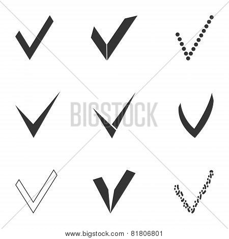 set of different grey and white check marks