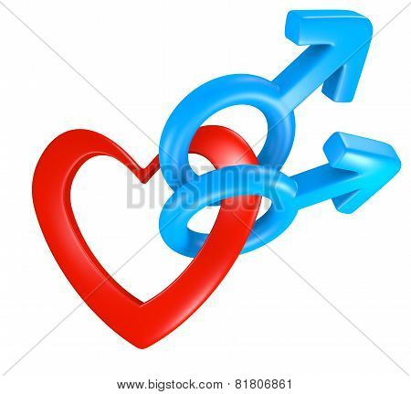 Valentine heart shape connecting male gender symbols for two men