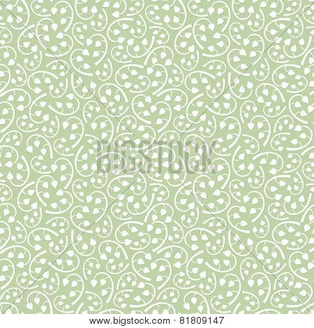 Vintage Detailed Floral Seamless Pattern Background From White Leaves And Branches On Hemlock Green