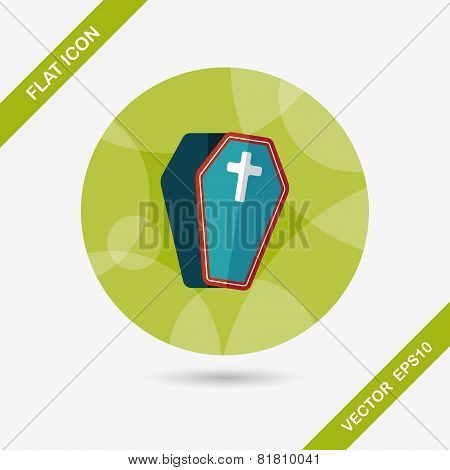 Coffin Flat Icon With Long Shadow,eps10