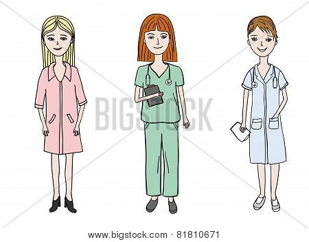 three young doctor woman dressed in medical uniform