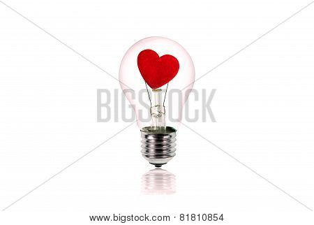 Heart Inside The Light Bulb.love Concept