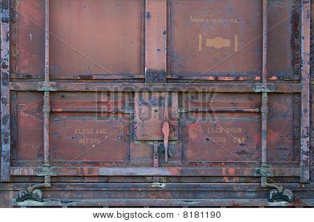 Red Railroad Car Door