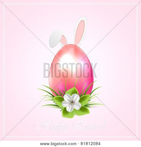 Pink Easter Egg And Bunny Ears