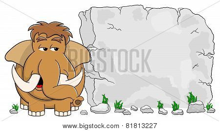 Mammoth In Front Of Stone Tablet With Copy Space
