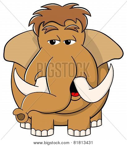 Cartoon Mammoth On White Background