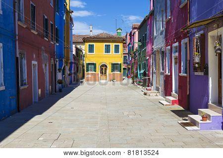 Beautiful Street In Burano